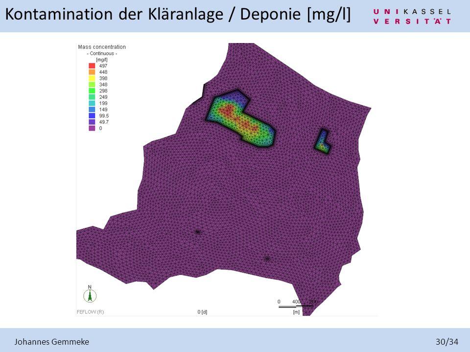 Kontamination der Kläranlage / Deponie [mg/l]